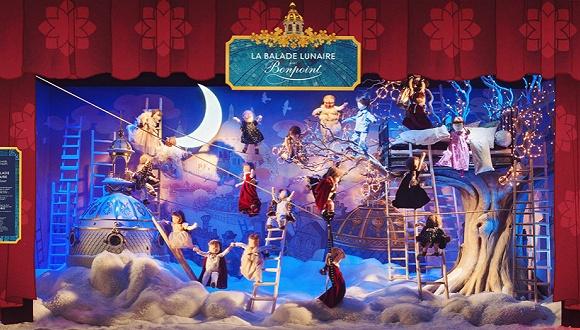 【是日美好事物】法国春天百货的圣诞橱窗秀 童话里才有的花朵灯