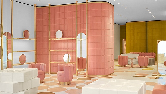 高颜值马卡龙品牌Ladurée开了家新店 里头全是可爱的丝绒家具